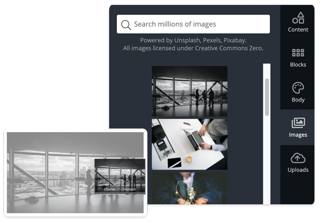 landing pages stock image gallery